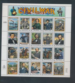 Gx02633 Usa 1995 Civil War Historical Figures Fp Xxl Sheet Mnh