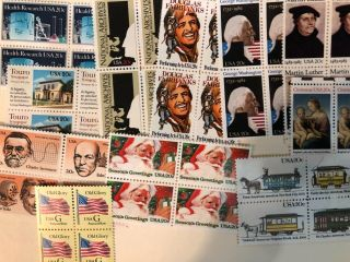 Stamps.  11 20 Cent Blocks.  Fv $8.  80