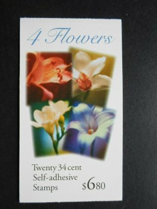 2001 Four Flowers - Cat 3490b,  C,  D Bk284 Twenty 34 Cent Booklet Mnh Og