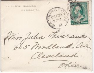 1887 Cover From The Executive Mansion (grover Cleveland) With Wax Seal,  Wash.  Dc