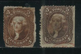 United States 5c Jefferson (2) Reddish Brown Circa 1860