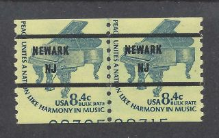 1615 Cd Mnh 8.  4c Precanceled Newark Nj,  Line Pair With Partial Pns