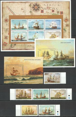 M298 Antigua & Barbuda Ships Explorers 2334 - 39 Michel 23,  8 Euro 2bl,  Set,  Kb Mnh
