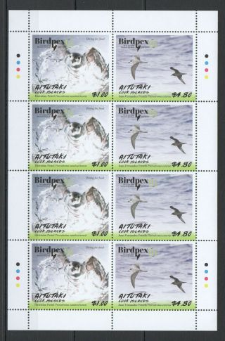 M222 2018 Aitutaki Fauna Birds Birdpex 8 Expo Petrel Full Sheet 4set Mnh