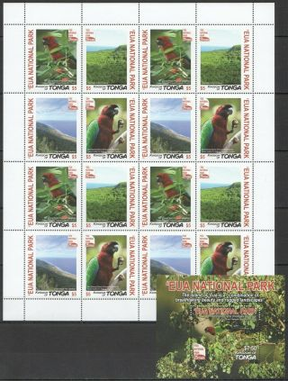M220 2017 Tonga Birds Parrots National Park 25 Years Michel 92 Euro Sh,  Bl Mnh