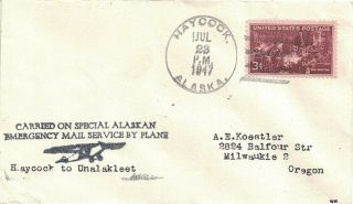 1947 Haycock,  Alaska Emergency Airmail Cover By Wien Air W Airplane Cachet - Dpo