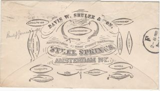 1900 Advertising Entire,  Shuler & Sons,  Steel Springs,  Flag Cancel - Amsterdam,  Ny