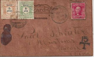 1906 Usa Shield Stamp Cover To Macau China Postage Due Leather Postcard