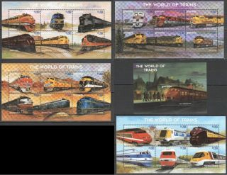I909 Grenada Transport The World Of Trains 4kb,  1bl Mnh