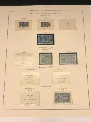 Scott Album Page Us Postage Stamp Lot / / / Never Hinged / 1884 - 1917