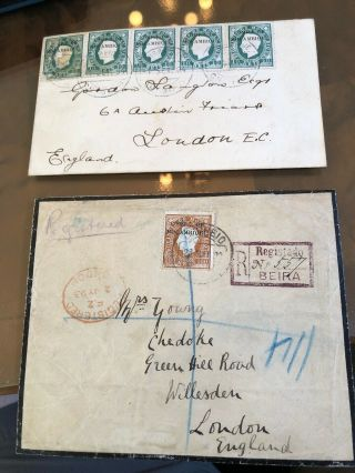 2 1890's Portuguese Colonial Mozambique Postal Covers To London (1 Registered)