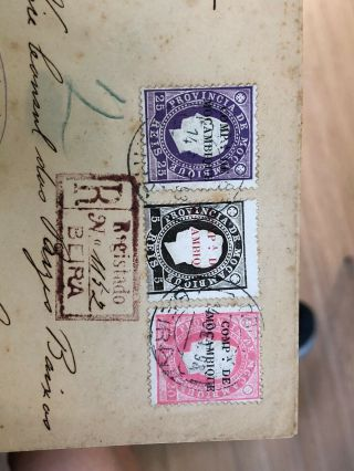 2 1884 & 1885 Portuguese Colonial Mozambique Postal Covers To Lisbon & London 10