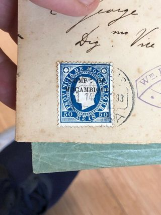 2 1884 & 1885 Portuguese Colonial Mozambique Postal Covers To Lisbon & London 9