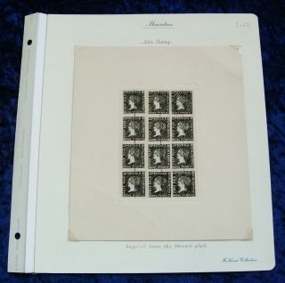 Unique Ex Kanai Album Pages Mauritius Sherwin 1d 2d Defaced Reprint Sheets 1/20