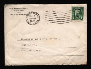 Opc 1924 Canal Zone To Usa P Perfin On 71 Official Business Stationary 37931