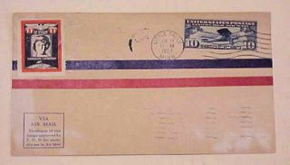 Us Fdc Lindbergh 1927 Little Falls Mother Label On Wide Banner Print Cat.  $75.  00
