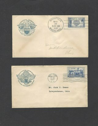 789,  794 1937 5c Army - Navy Issue Fdcs - Farnam Cachets