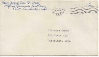 1947 San Antonio Texas Fort Sam Houston  Cover From Major General 4th Army