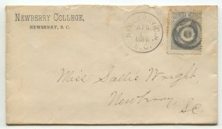 "Newberry Sc 1884 206 Advertising "" Newberry College "" Drop Cover"