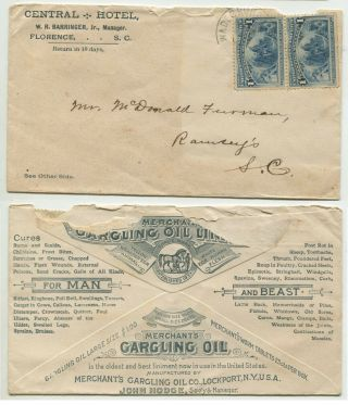 "Florence Sc 1894 230 2 Sided Advertising "" Central Hotel "" Postmark Wadesboro"