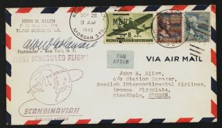 1946 Sas Flight Cover Ny To Sweden Signed By Albert Goldman Nyc Postmaster A340