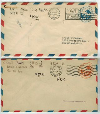 Early Usa Airmail Embossed Envelope Fdcs 1929 - 1934 Set Airplanes Uc1,  Uc3 $55