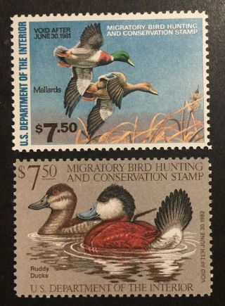 Tdstamps: Us Federal Duck Stamps Scott Rw47 Rw48 (2) Mh Og