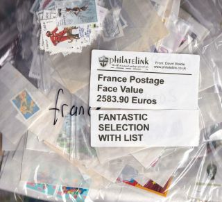 France Large Postage Lot Total 2583.  90 Euros With List Of Stamps