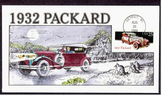 Scott 2384 Fdc 1932 Packard Classic Automobiles Car Collins Hand Painted Cachet