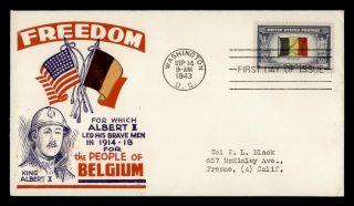 Dr Who 1943 Fdc Overrun Nations Belgium Wwii Patriotic Cachet E55366