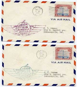 Us 1929 First Flight Cover Set Of 2 Legion Air Circus Yakima Wa To Indianapolis