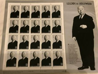 1998 Alfred Hitchcock Stamps 4th Legends Of Hollywood Sheet 20 X 32¢ 3226