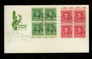 Us Fdc 859 - 860 2nd Day Farnam M - 5 1940 Washington Dc Famous Americans Authors