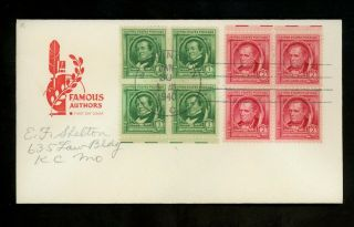 Us Fdc 860,  859 2nd Day Farnam M - 5 1940 Washington Dc Famous Americans Authors