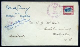 Rare Aamc 101f,  5/15/1918 First Flight York To Wash Dc Cover Pilot Signed