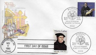 1983 2067 Martin Luther 500th Anniversary Joint Issue Us Germany Hf