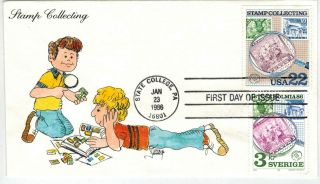 1986 Stamp Collecting Joint Issue Usa,  Sweden 2200,  836 Image Handpainted