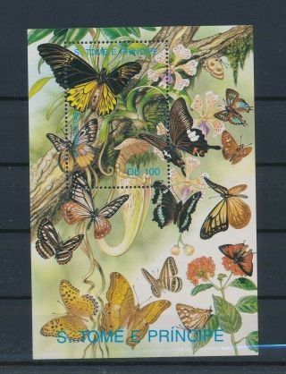 Lk63965 Sao Tome E Principe Insects Bugs Flowers Butterflies Sheet Mnh