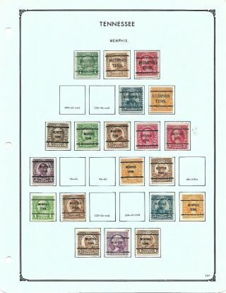 Noble Album Page Of 20 Tennessee Older Issue Bureau Precancels,  Some Better