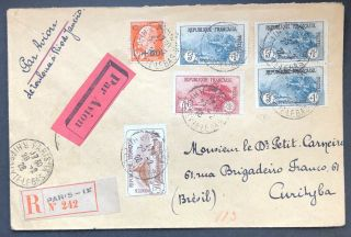 France Great Registered Air Mail Cover 1928 To Brazil Od X23