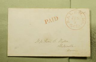 Dr Who 1833 Salem Ma Stampless Paid 3c To Waterville Me E54695