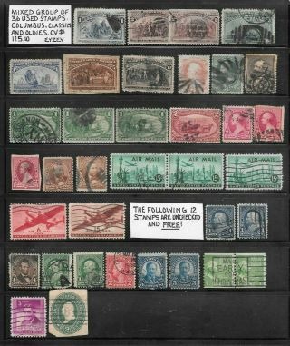 Usa 36 Oldies Stamps.  Mixed Group.  12 Unchecked And.