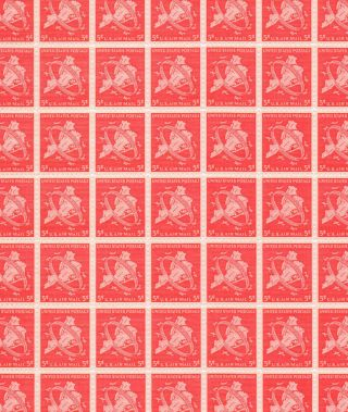 C38 5 Cent Ny City Sheet Of 100 Mnh Og Some Perf.  Separated