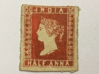 Old Stamp India Half Anna Red 1854 Rare