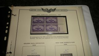 Us Scott 835,  836,  837 & 838 Plate Blocks Of 4 Mnh Year Of Issue 1938