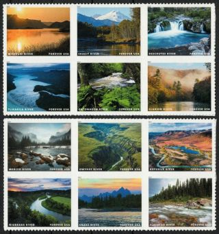Usa Sc.  5381 (55c) Scenic Rivers 2019 Mnh 2 Blocks Of 6