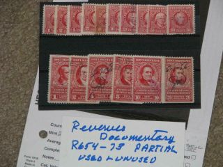 Us Revenues,  Documentary,  Scott R654 - 73 Partial Set,  &