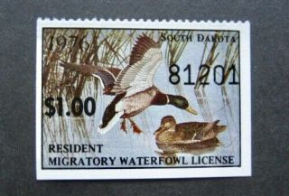 1976 South Dakota State Duck Migratory Waterfowl Stamp Mnhog