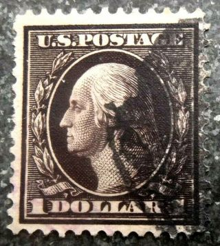 Buffalo Stamps: Scott 342,  $1 Washington Perf 12,  Vf - Face - Cxl,  Cv = $100