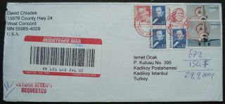 Us 3 Sc 2173 - 2194 - 3261 - 2175 Registered Postal Cover To Turkey